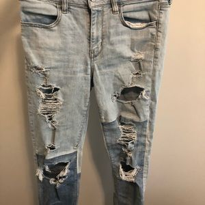 American Eagle two tone ripped stretchy jeans 8